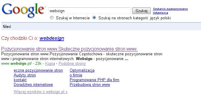 Mapa linków witryny Websign