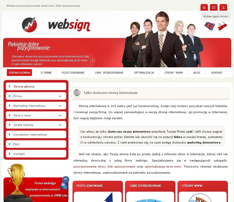Aktualna wersja strony firmy WEBSIGN