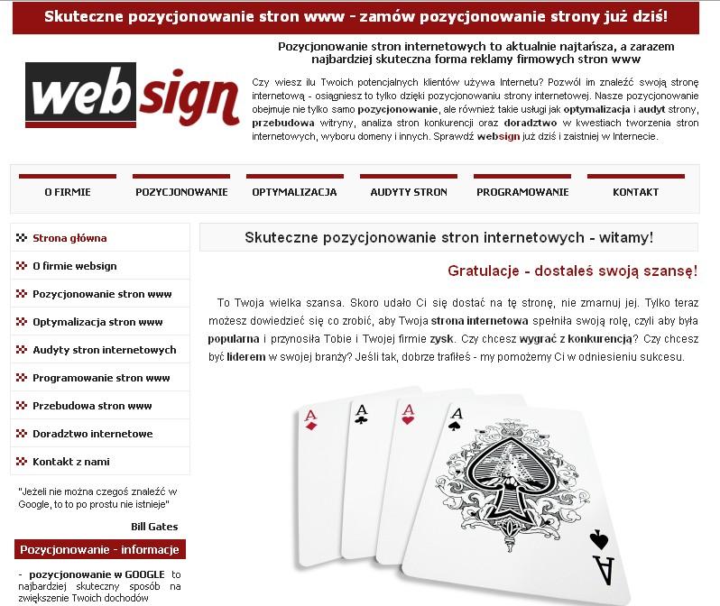 Poprzednia wersja strony firmy WEBSIGN
