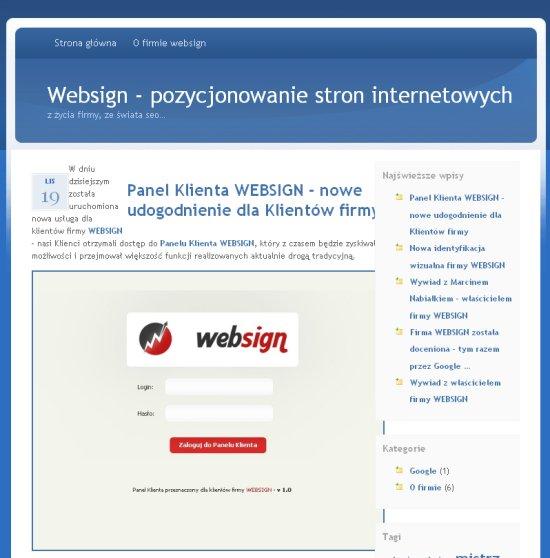 Pierwsza wersja blogu WEBSIGN