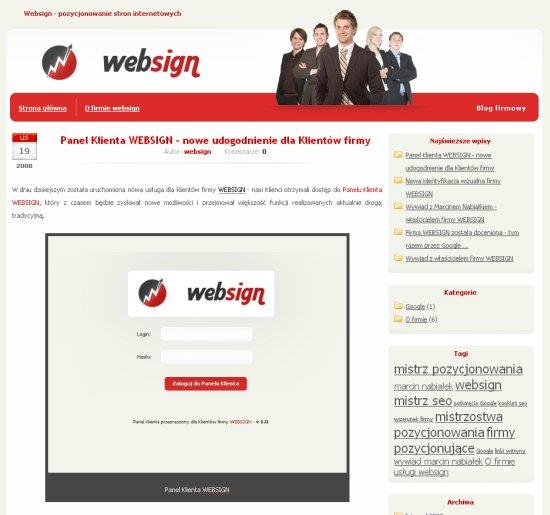 Druga wersja bloga WEBSIGN